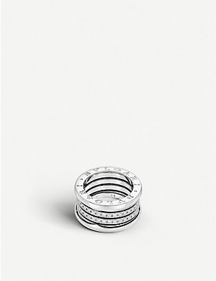 BVLGARI: B.zero1 four-band 18kt white-gold and diamond ring