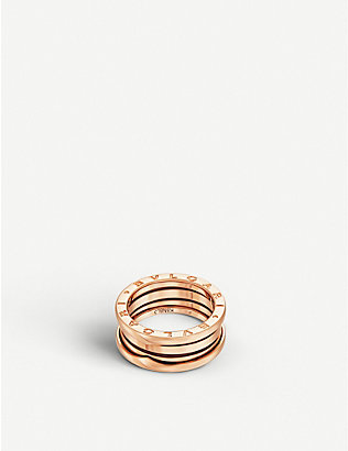 BVLGARI: B.zero1 three-band 18kt pink-gold ring