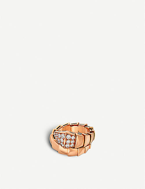 BVLGARI: Serpenti 18kt pink-gold and diamond ring