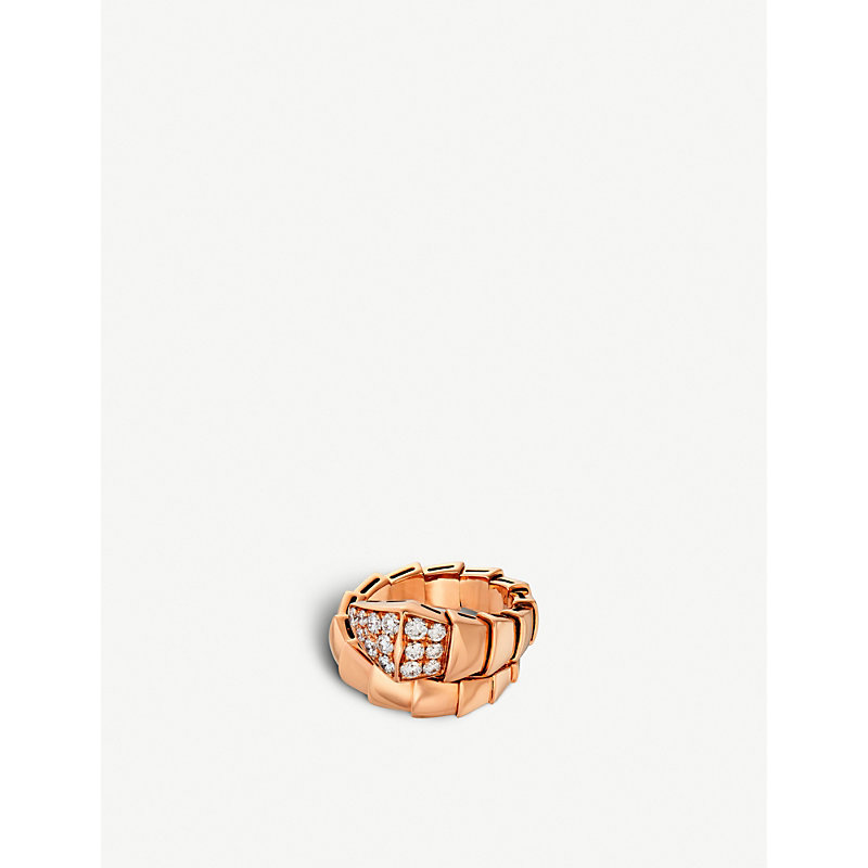 BVLGARI   Bvlgari Serpenti 18kt Pink-Gold And Diamond Ring, Women'S, Size: M, Pink   Goxip