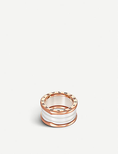 BVLGARI: B.zero1 four-band 18kt pink-gold and ceramic ring