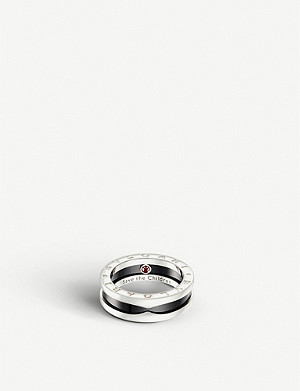 BVLGARI Save the Children one-band sterling silver and black-ceramic ring