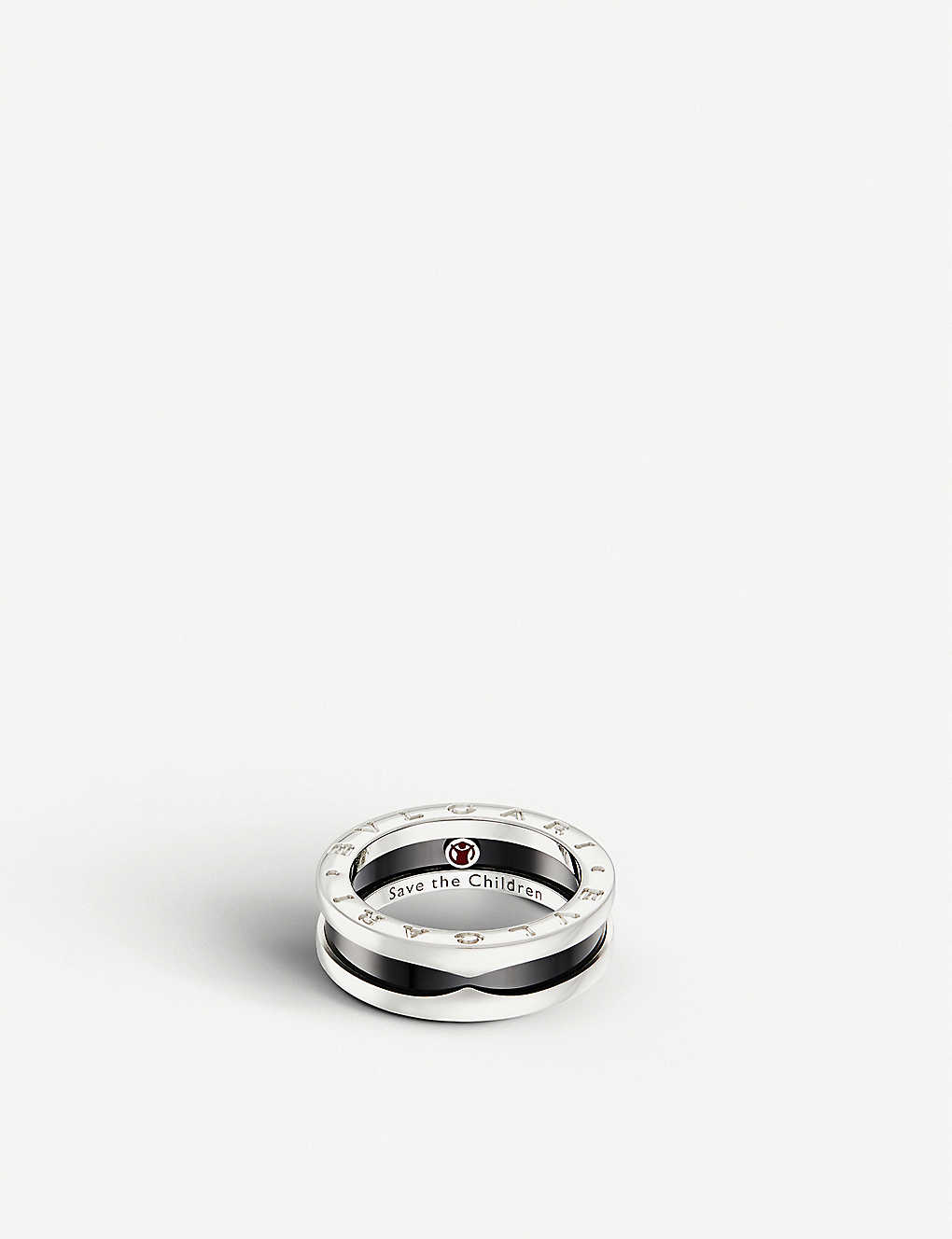 BVLGARI: Save the Children one-band sterling silver and black-ceramic ring