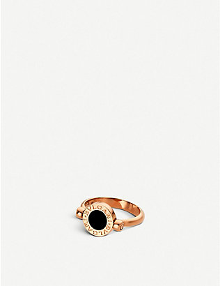 BVLGARI: BVLGARI-BVLGARI 18kt pink-gold, black-onyx and mother-of-pearl ring
