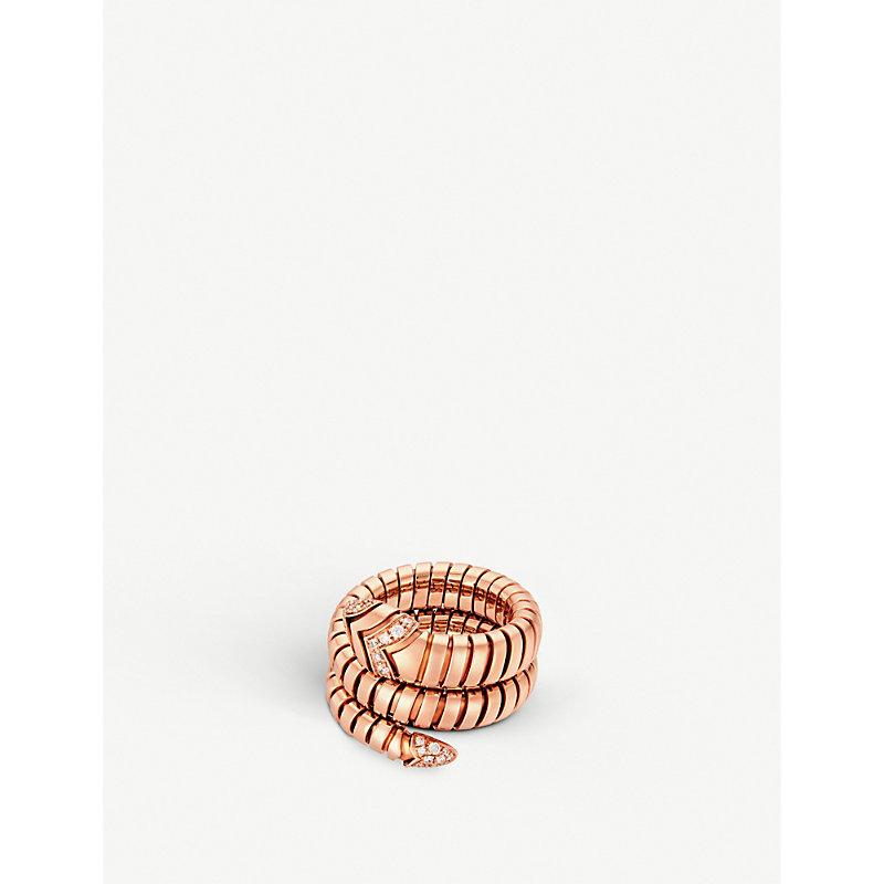 BVLGARI   Serpenti Tubogas 18kt Pink-Gold And Diamond Ring   Goxip