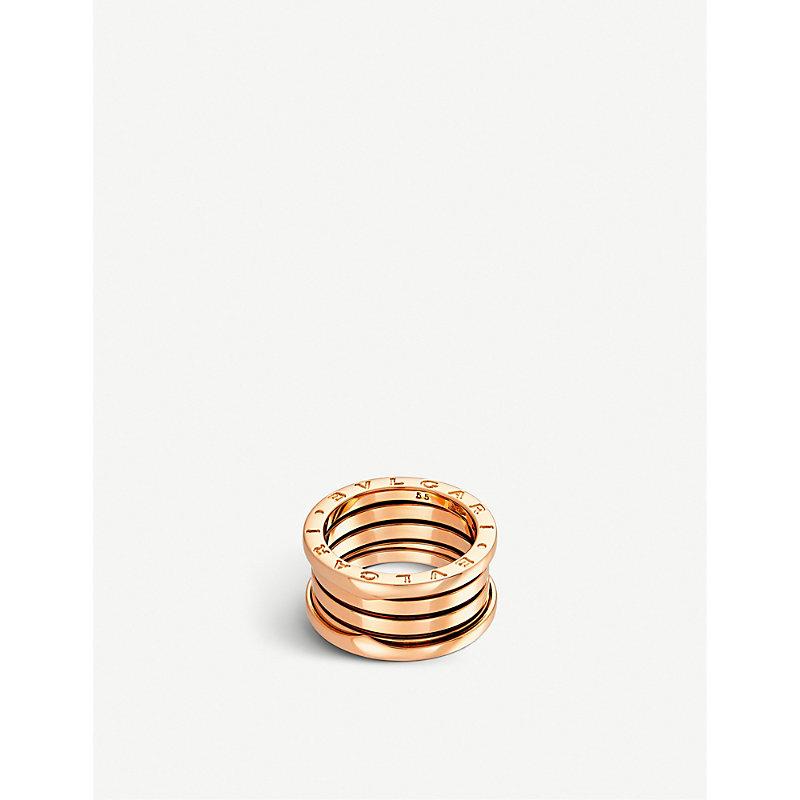 BVLGARI   Bvlgari B.Zero1 Four-Band 18kt Pink-Gold Ring, Size: 68mm   Goxip