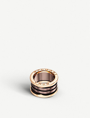BVLGARI B.zero1 Roma four-band 18kt pink-gold and bronze ceramic ring