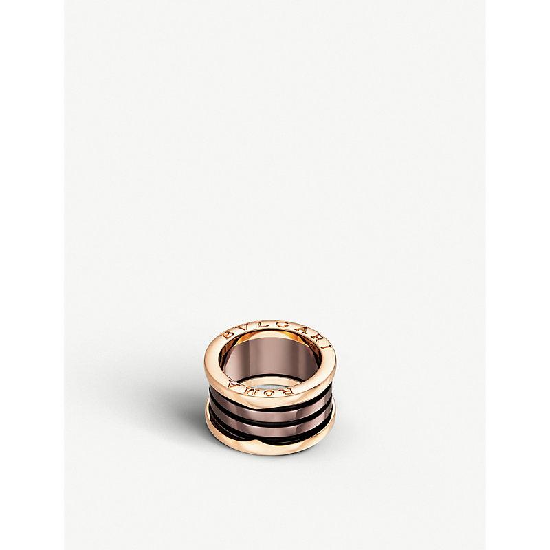 BVLGARI   Bvlgari B.Zero1 Roma Four-Band 18kt Pink-Gold And Bronze Ceramic Ring, Size: 48mm   Goxip