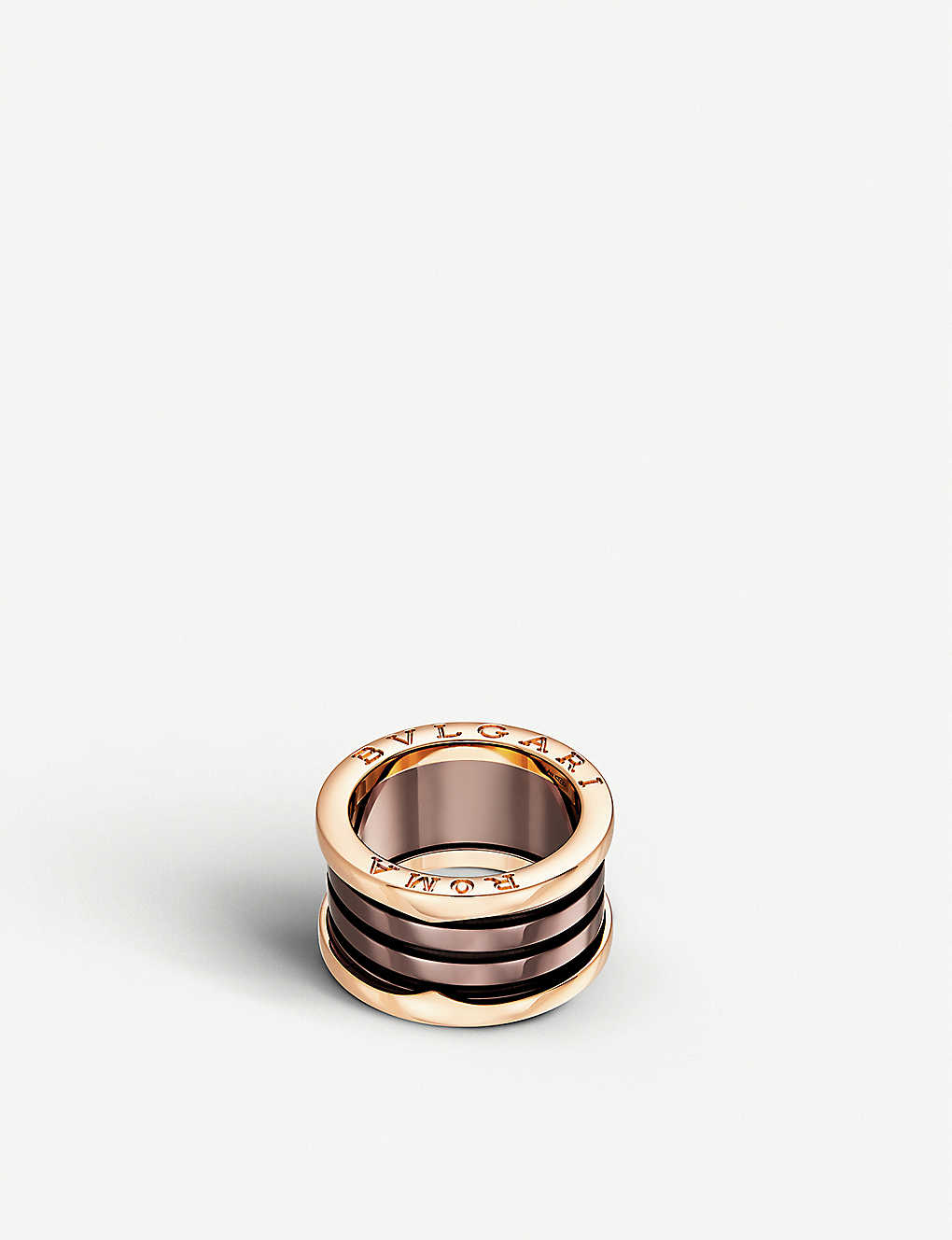 ca77d5628d70e B.zero1 Roma four-band 18kt pink-gold and bronze ceramic ring