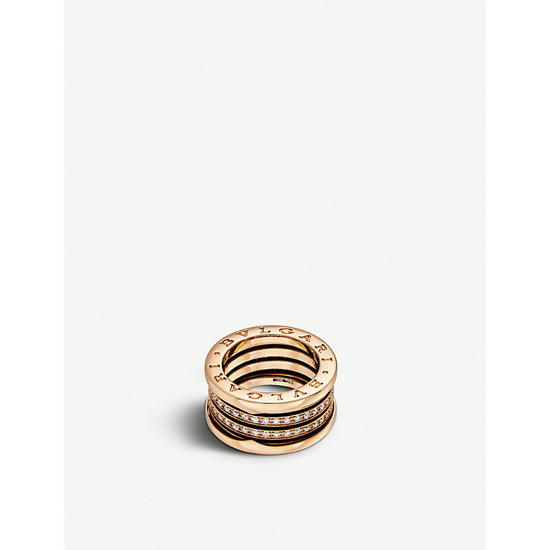 BVLGARI   Bvlgari B.Zero1 Four-Band 18kt Pink-Gold Ring, Women'S, Size: 53mm, Pink   Goxip
