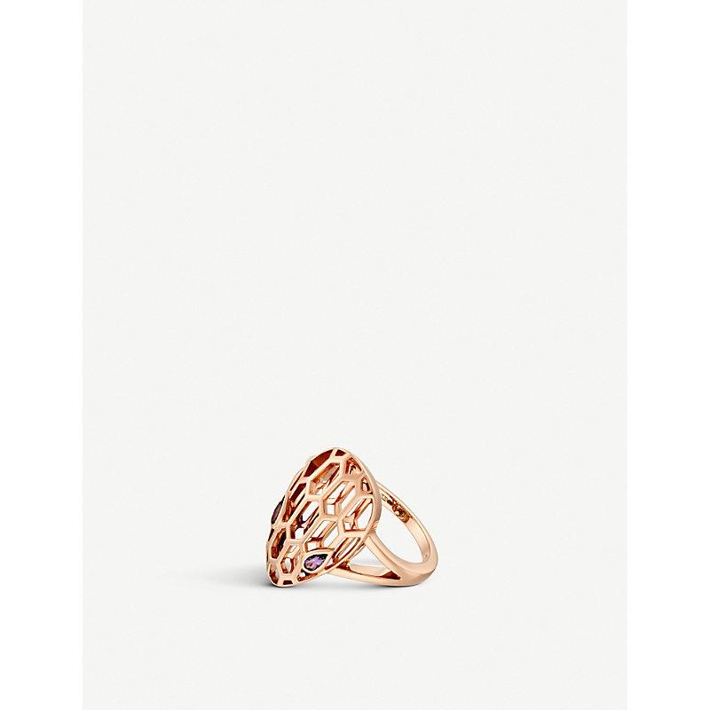 BVLGARI   Bvlgari Serpenti Seduttori 18kt Pink-Gold And Amethyst Ring, Size: 55mm   Goxip