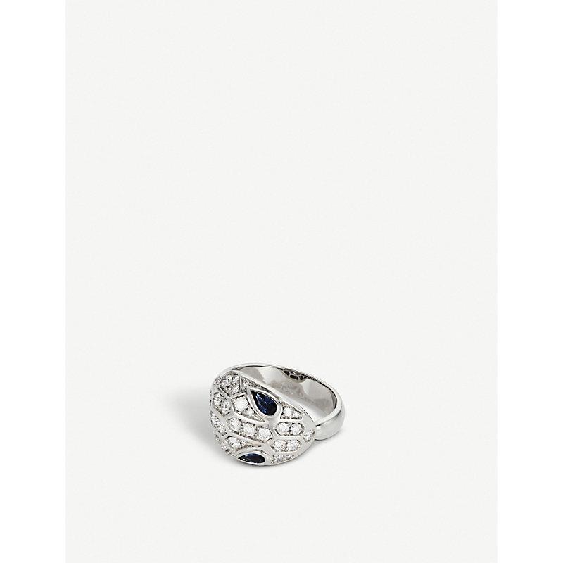 BVLGARI   Serpenti Seduttori 18kt White-Gold, Diamond And Sapphire Ring   Goxip