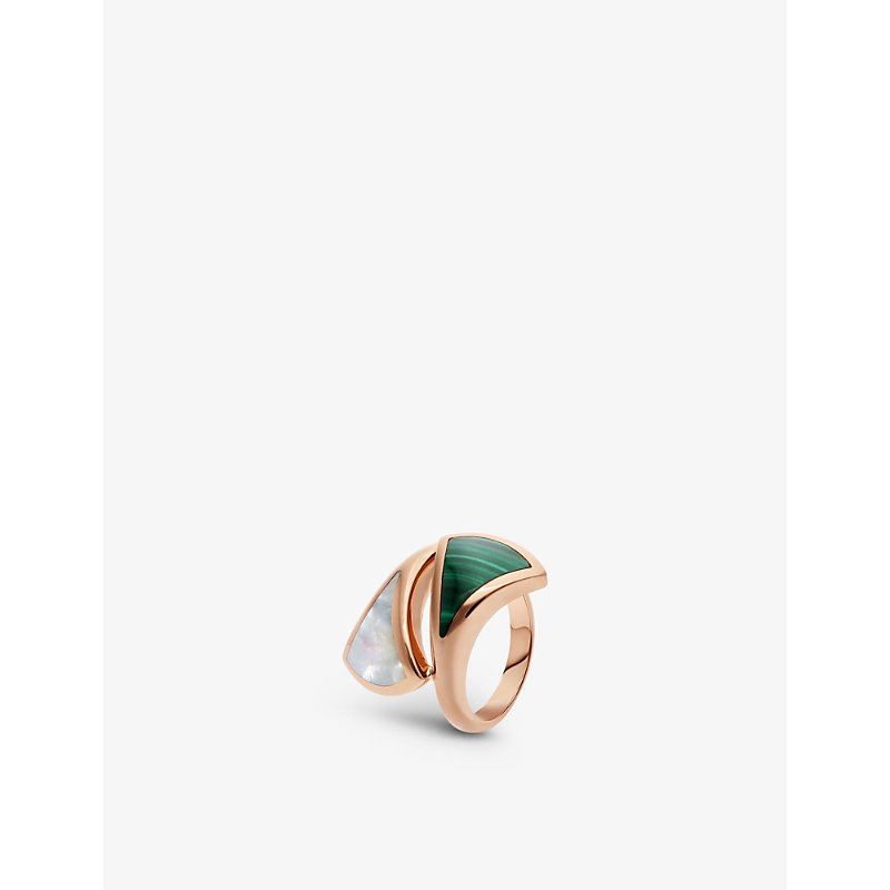 BVLGARI   Divas' Dream Contraire 18ct Rose-Gold, Mother-Of-Pearl And Malachite Ring   Goxip