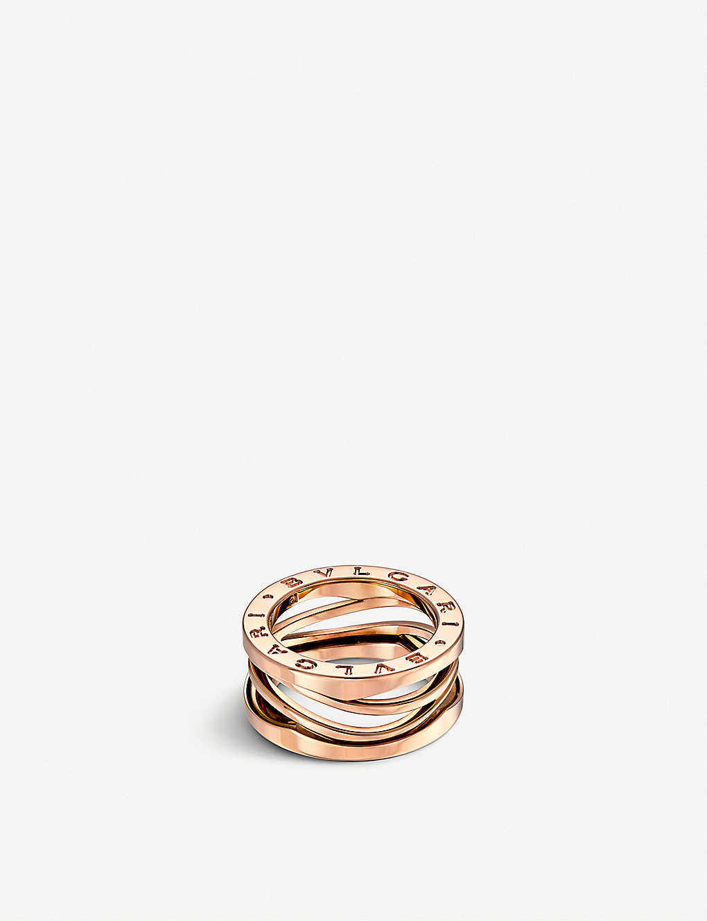 BVLGARI: B.zero1 Zaha Hadid three band 18ct pink-gold ring