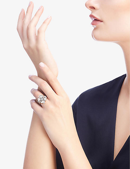 BVLGARI Fiorever 18ct white-gold and diamond ring