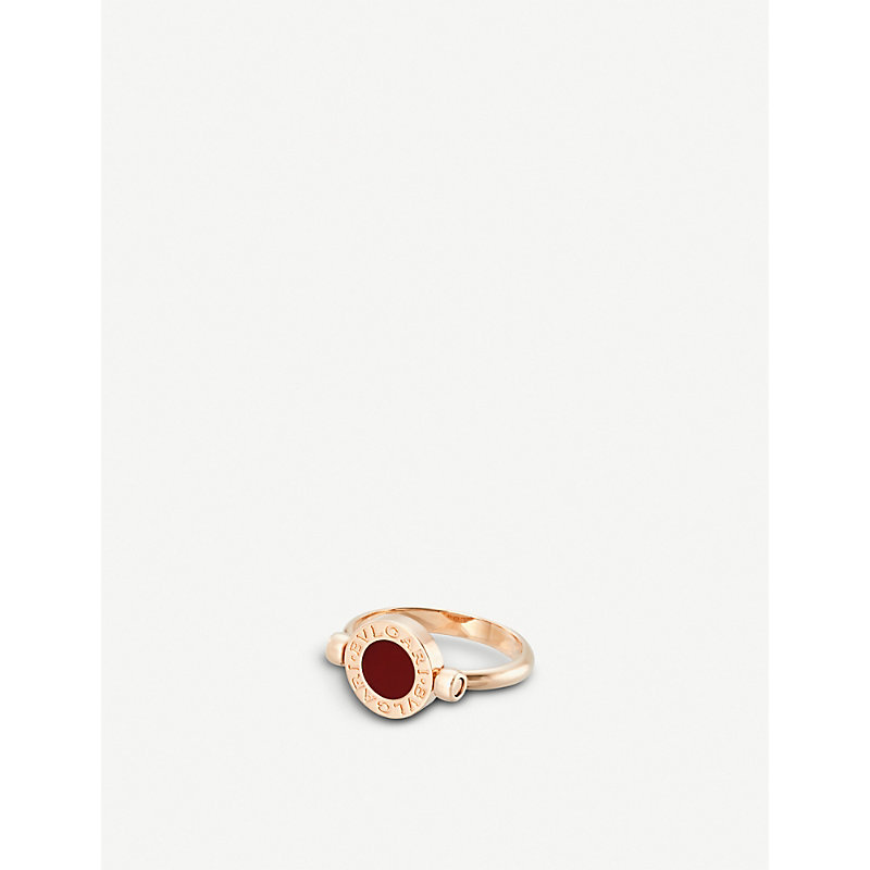 BVLGARI   Bvlgari Bvlgari 18ct Rose-Gold And Carnelian Ring   Goxip