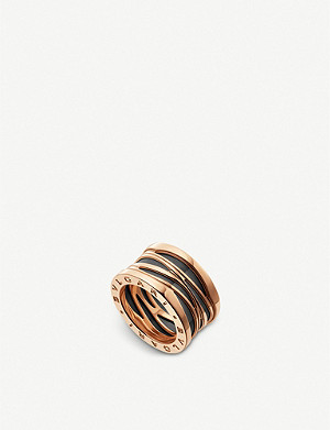 BVLGARI B.zero1 Design Legend four-band 18ct rose-gold and black ceramic ring