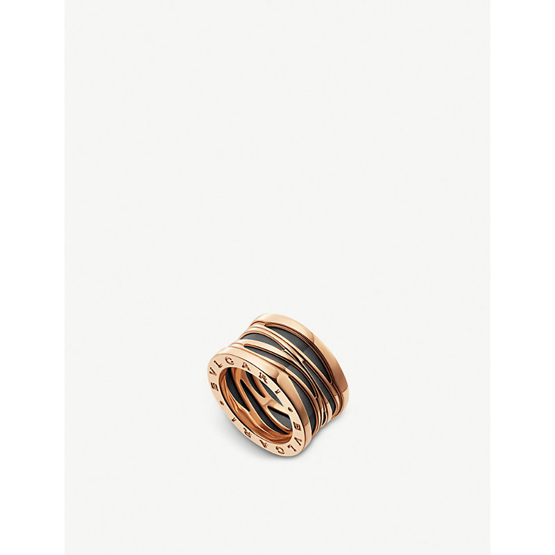 BVLGARI   B.Zero1 Design Legend Four-Band 18ct Rose-Gold And Black Ceramic Ring   Goxip