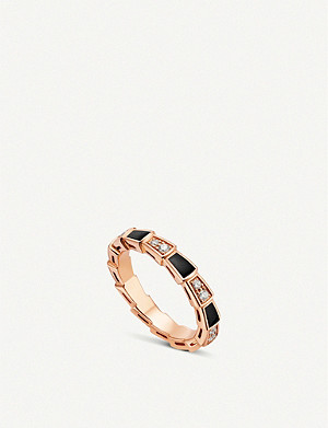 BVLGARI Serpenti Viper 18ct rose-gold, onyx and diamond ring