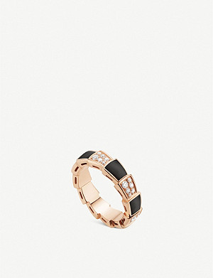 BVLGARI Serpenti Viper 18ct rose-gold, onyx and pavé diamond ring