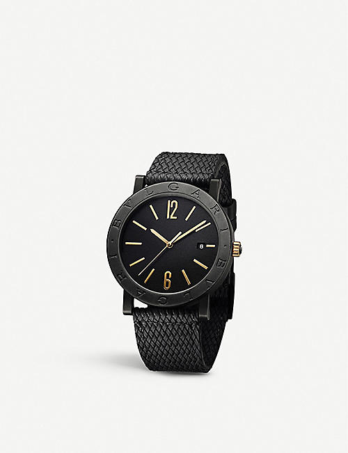 BVLGARI: BVLGARI BVLGARI Solotempo carbon and bronze watch