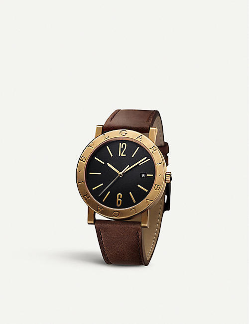 BVLGARI BVLGARI BVLGARI Solotempo leather and bronze watch