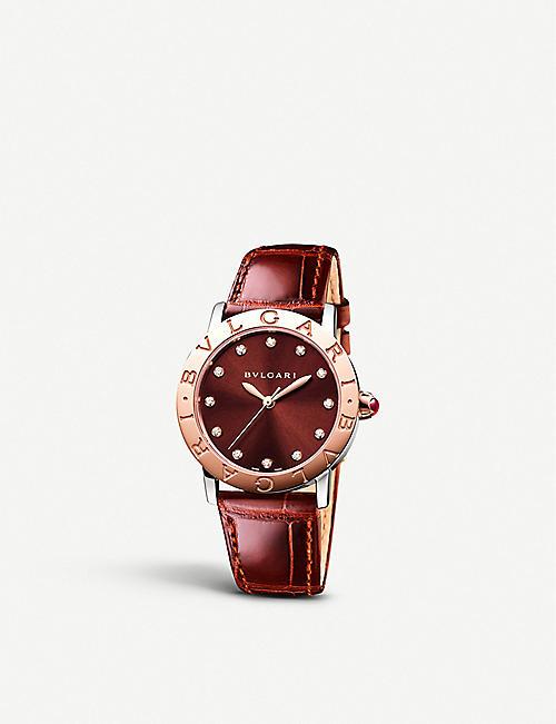7386c3948ff BVLGARI Bulgari Bulgari lady 18ct pink-gold and alligator watch