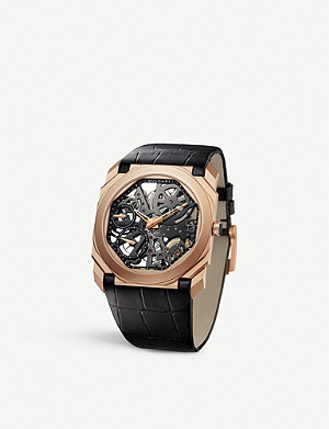 BVLGARI Octo Finissimo 18ct rose-gold and alligator-leather watch
