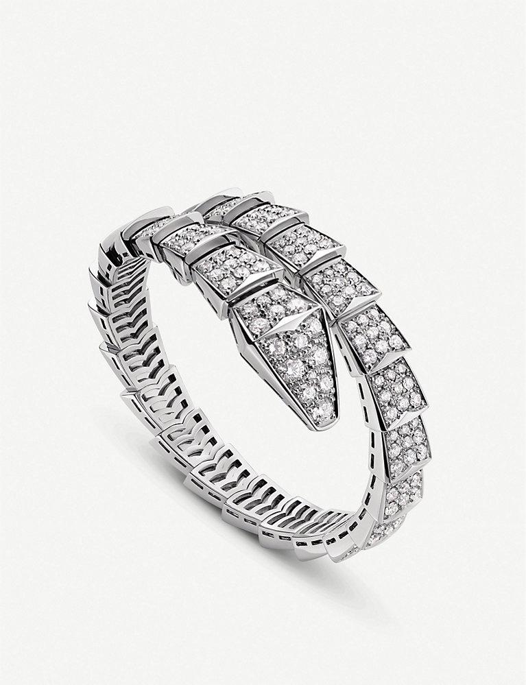 d352e0926f9 BVLGARI - Serpenti 18ct white-gold and diamond bracelet   Selfridges.com