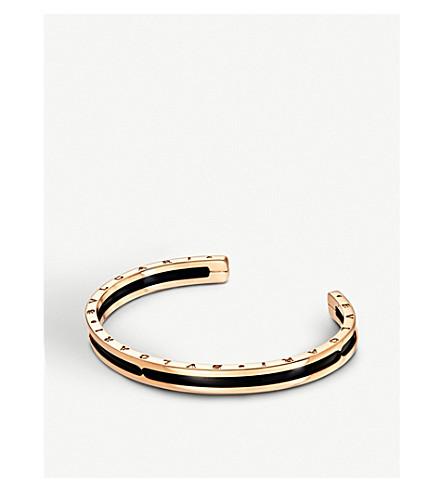 d924cdf482d71 B.zero1 18kt pink-gold and black ceramic bracelet cuff