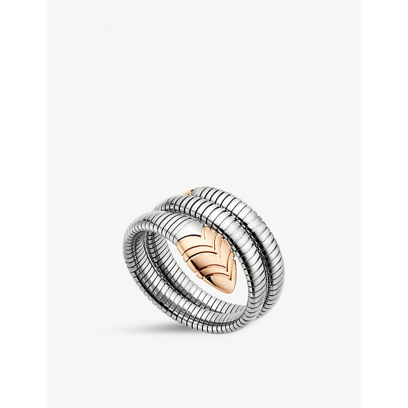 BVLGARI   Bvlgari Serpenti Tubogas 18kt Pink-Gold And Stainless Steel Bracelet, Women'S, Size: S/M, Stainless Steel   Goxip