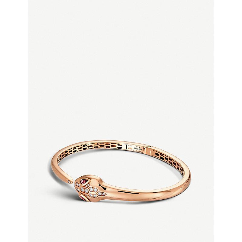 BVLGARI   Bvlgari Serpenti Seduttori 18kt Pink-Gold, Diamond And Rubellite Bracelet, Size: L   Goxip