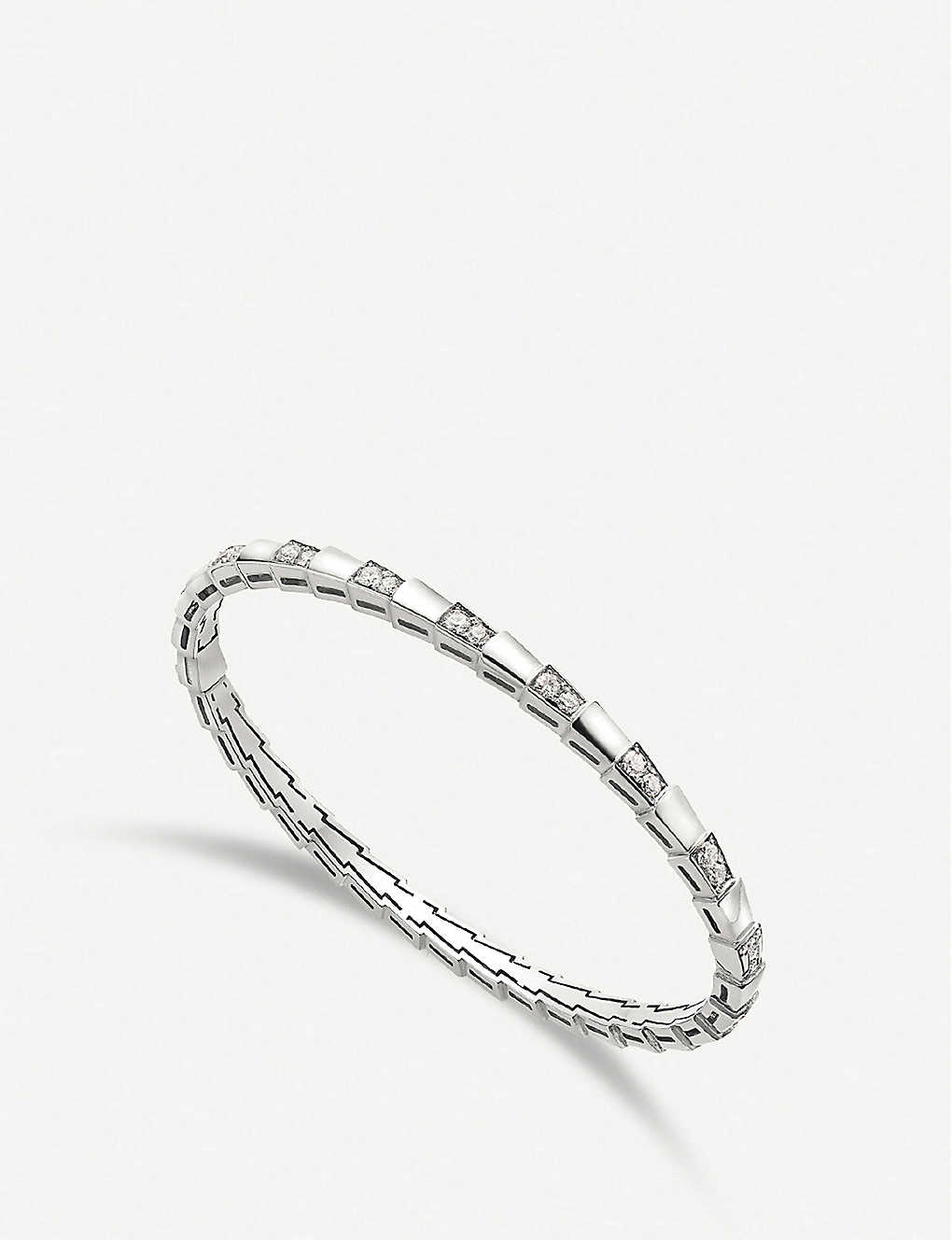 b19179c8acd6c BVLGARI - Serpenti Viper 18kt white-gold and diamond bracelet ...