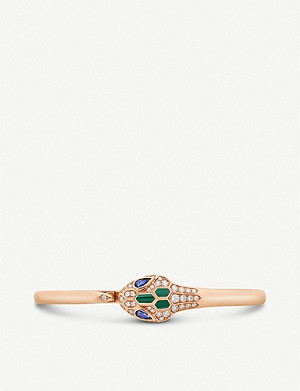 BVLGARI Serpenti 18ct rose-gold, sapphire, diamond and malachite bangle