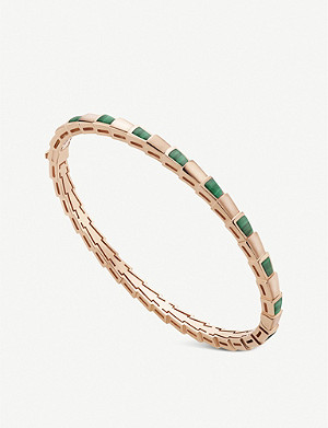BVLGARI Serpenti Viper 18ct rose-gold and malachite bangle