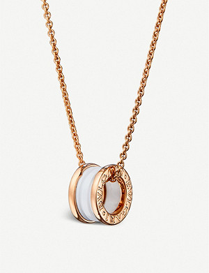 BVLGARI B.zero1 18kt pink-gold and ceramic pendant necklace