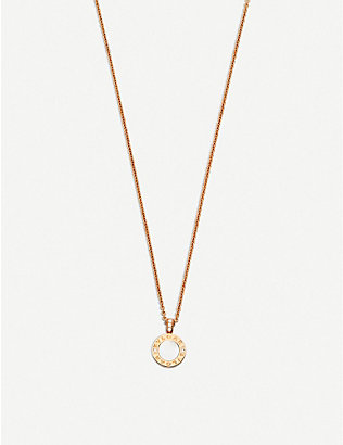 BVLGARI: BVLGARI-BVLGARI 18kt pink-gold pendant necklace with mother-of-pearl, onyx and pavé diamonds