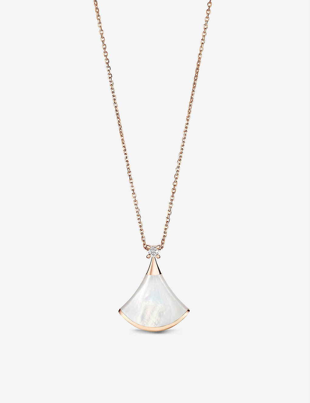 Divas' Dream 18kt pink-gold with mother of pearl and pave diamond necklace