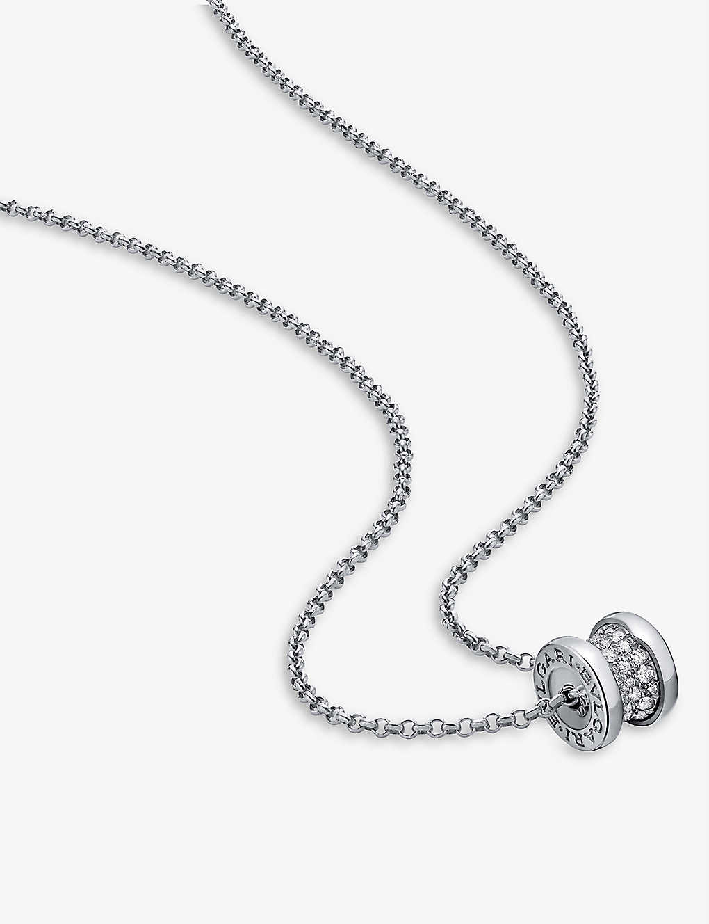BVLGARI: B.zero1 18ct white-gold and diamond necklace