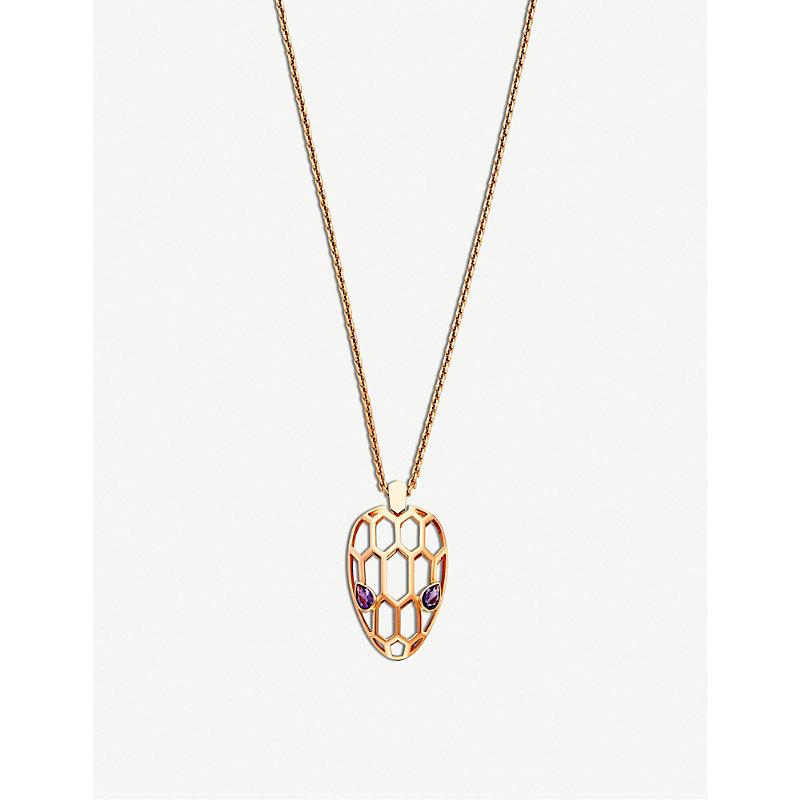 BVLGARI   Bvlgari Serpenti Seduttori 18kt Pink-Gold And Amethyst Pendant Necklace   Goxip