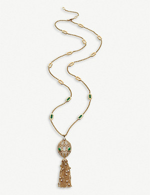 BVLGARI Serpenti 18kt yellow-gold, malachite and diamond necklace