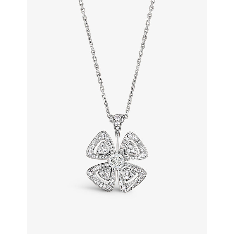 BVLGARI   Fiorever 18ct White-Gold And Diamond Necklace   Goxip