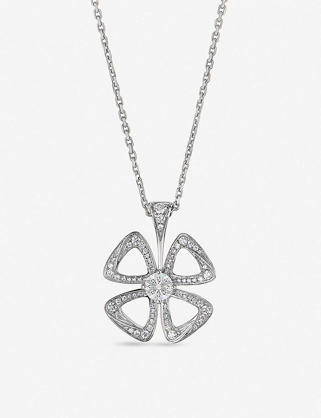 e8a0a3ca0f1f7 BVLGARI - Fiorever 18ct white-gold and diamond necklace | Selfridges.com