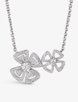 BVLGARI Fiorever two-flowers 18ct white-gold and diamond necklace