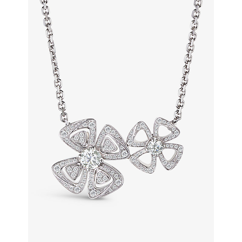 BVLGARI | Fiorever Two-Flowers 18ct White-Gold And Diamond Necklace | Goxip
