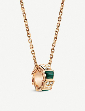 BVLGARI Serpenti Viper 18ct rose-gold, malachite and pavé diamond pendant necklace