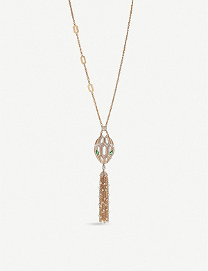 BVLGARI Serpenti 18ct rose-gold, emerald and pavé diamond necklace