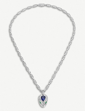 BVLGARI Serpenti 18kt white-gold, blue sapphire and diamond necklace