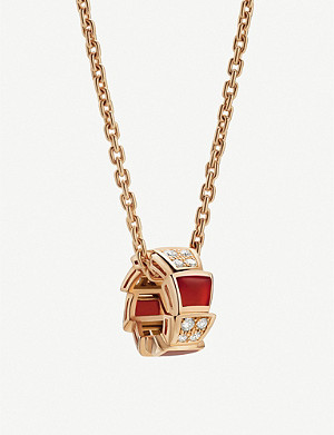 BVLGARI Serpenti Viper 18kt rose-gold carnelian crystal and diamond necklace