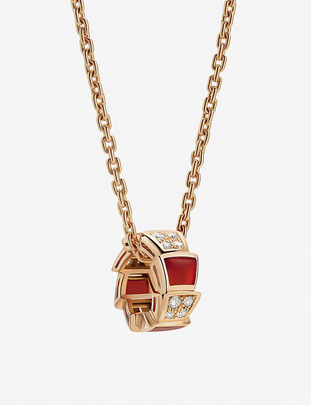 25cd67c1f Serpenti Viper 18kt rose-gold carnelian crystal and diamond necklace ...